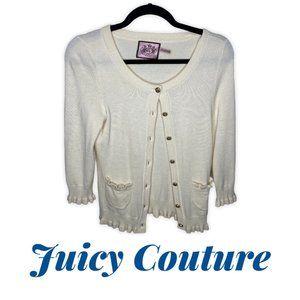 Juicy Couture Ruffle Hem NUDE Cardigan Wool Blend